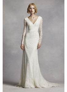 white by vera wang lace sleeve wedding dress david39s bridal With vera wang wedding dresses with sleeves
