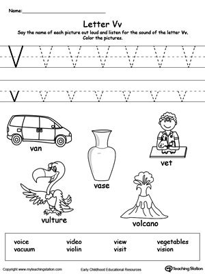 words that start with a for preschool words starting with letter v myteachingstation 958