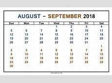 Calendar Aug And Sept 2018 – 2018 Calendar Template