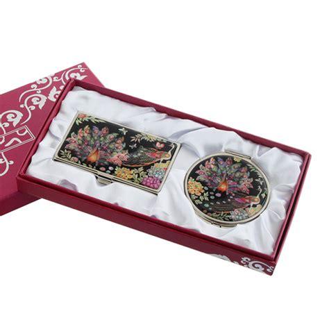 set miroir de poche porte carte de visite nacre collection animal paon colore ebay