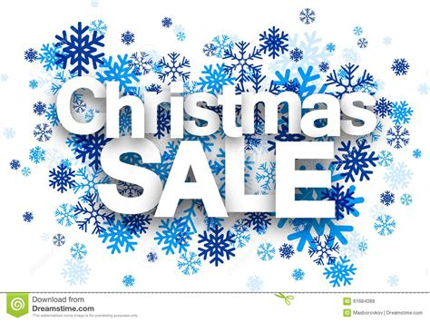 christmas sale paper sign over snowflakes stock vector
