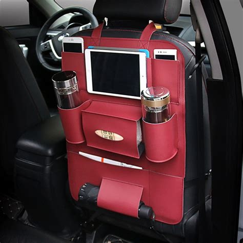 siege pour voiture car back seat multi pocket phone cup holder pu leather