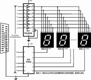 7 Segment Rolling Display Using Pc Circuit Diagram