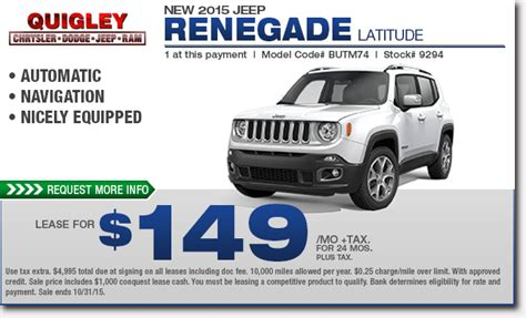 jeep renegade leasing new 2015 jeep renegade specials boytertown pa