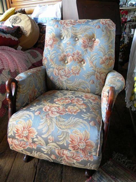 Vintage Swan Head Upholstered Rocking Chair