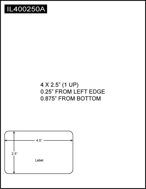 Integrated Label, 4 x 2.5 (1 Up), 8.5 x 11 Sheet Size
