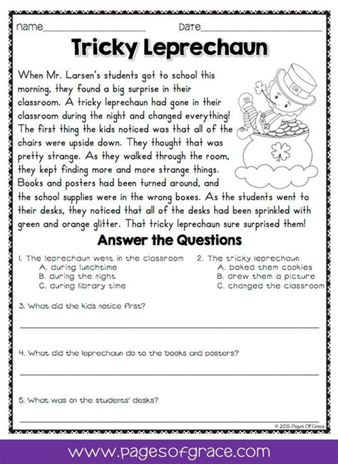 reading comprehension passages and questions for march k