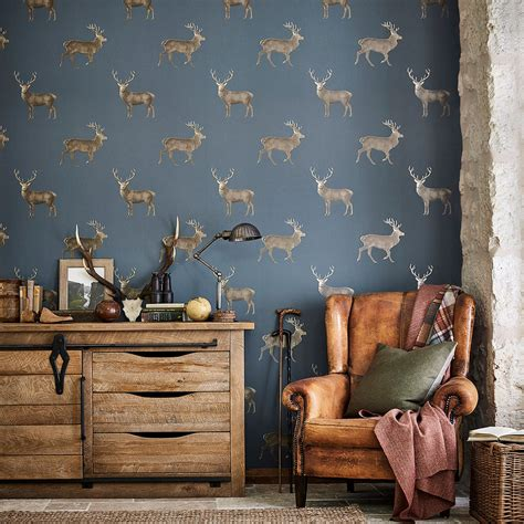evesham deer  sanderson indigo wallpaper wallpaper