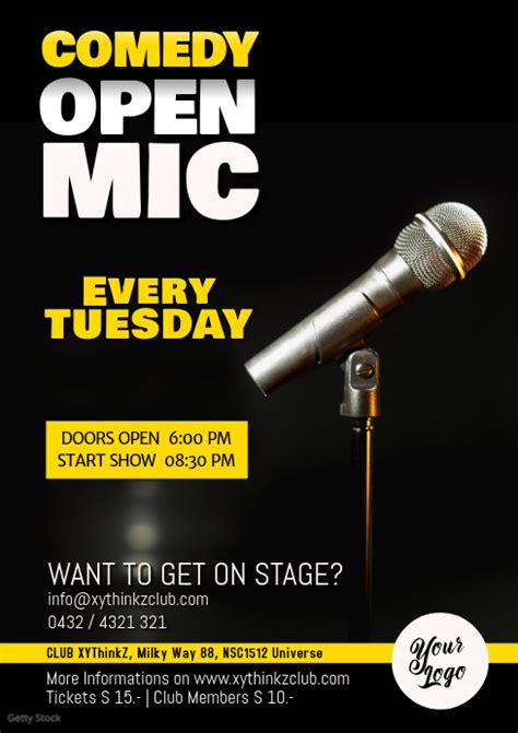 foto de Comedy Open Mic Flyer Poster Microphone Event Template