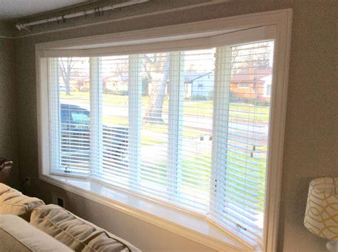 faux wood blinds   window bay  custom