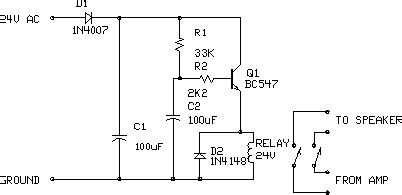 Amplifier Output Delay With Relay Loublet Schematic