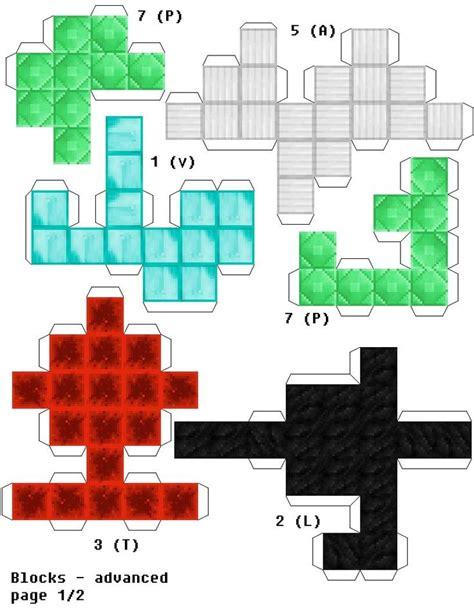 papercraft soma cube puzzle minecraft edition ore block version minecraft pinterest