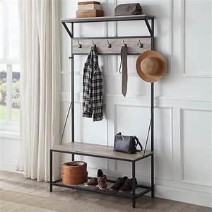 Belleze, 70, U0026quot, Industrial, Bench, Hall, Tree, Entryway, Storage, Shelf, Coat, Rack, Metal, Frame, Gray, Wash