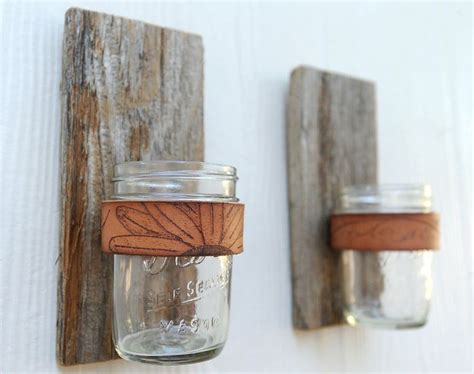 Branded Jar Sconce Made Of Rustic Reclaimed Wood By