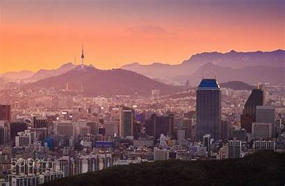 Seoul Skyline South Sunset Downtown Korea Aesthetic