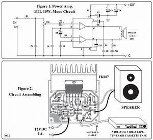 audio power amplifier kit15 watts mono qkits electronics With 2 amp wiring kit