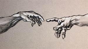 Creation Of Adam Hands Drawn in Charcoal PROCESS - YouTube