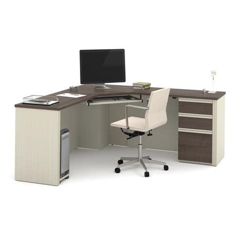 bestar hton corner computer desk prestige corner desk including one pedestal in white