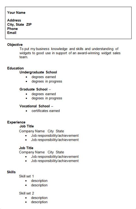 resume templates  college students