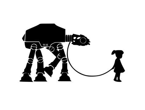 star wars inspired girl walking   walker digital dxf