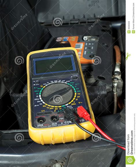 car battery voltage checking royalty  stock  image
