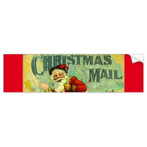 christmas mail santa claus vintage gift card art bumper
