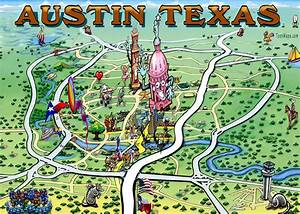 Austin Texas Fun Map Painting by Kevin Middleton