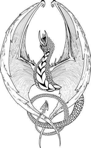 fantasy dragon coloring page  printable coloring pages