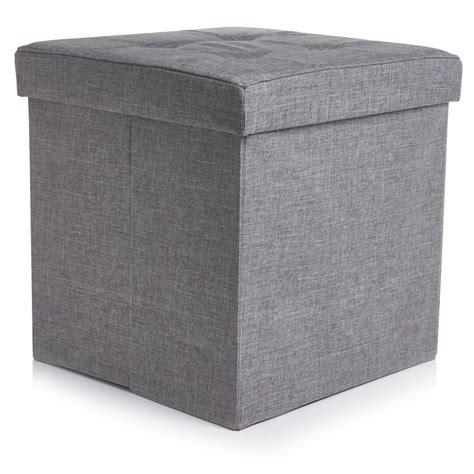 grey ottoman storage box wilko faux linen square cube grey at wilko com