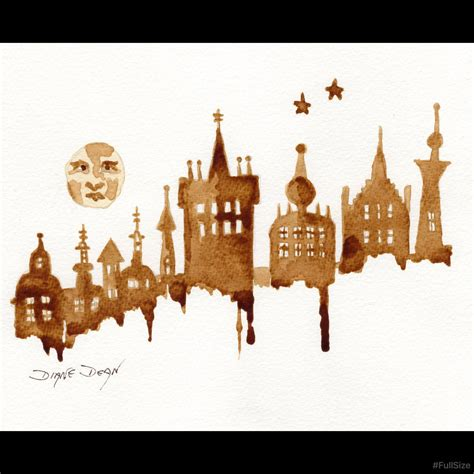 Paint, coffee or milk splash blots. Art Print Man in the Moon Cityscape Coffee Art in 2020 (With images)   Whimsical art, Art prints ...