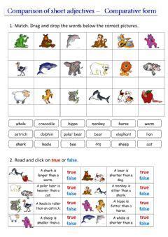 english exercises comparatives animals