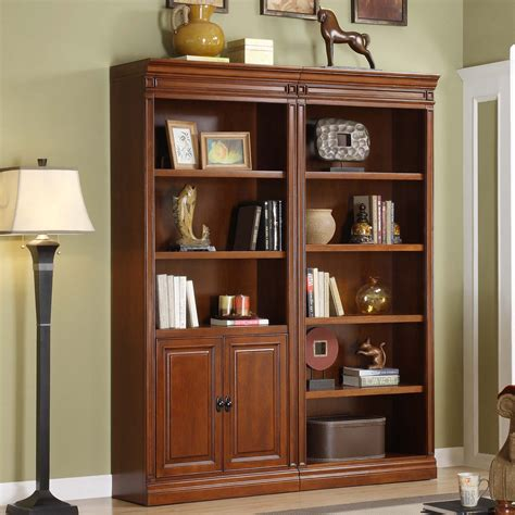 Dark Walnut Wooden Bookcase With Lower Doors And Eight