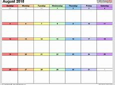 August 2018 Calendar calendar month printable