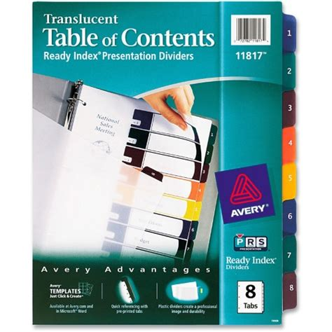 avery 8 tab index template avery ready index translucent table of content dividers ave11817 shoplet