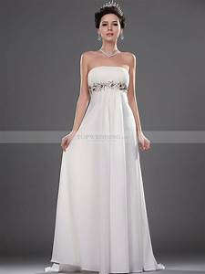 goddess style strapless long flowing chiffon bridal gown With goddess style wedding dress