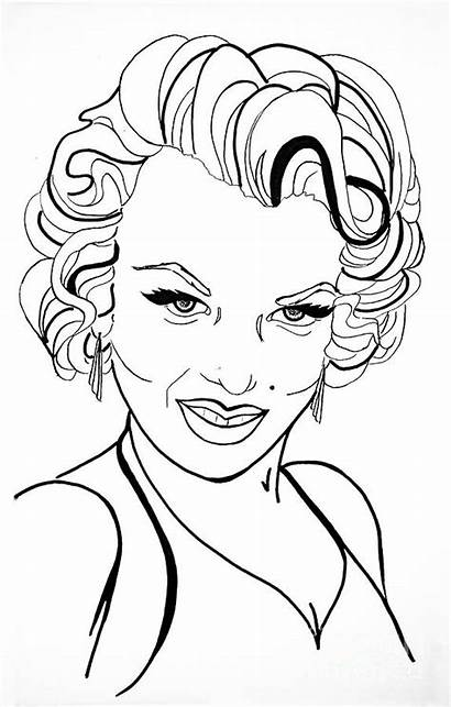 Monroe Marilyn Line Drawing Drawings Coloring Pages