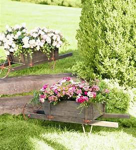 Large, Decorative, Wood, Wheelbarrow, Planter