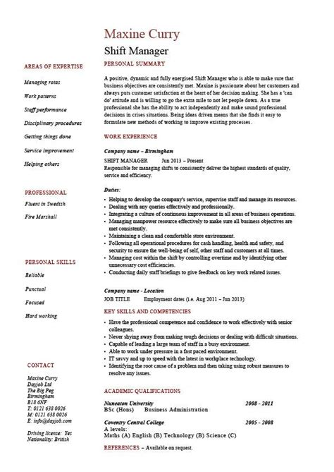 shift manager resume team leader supervisor exle
