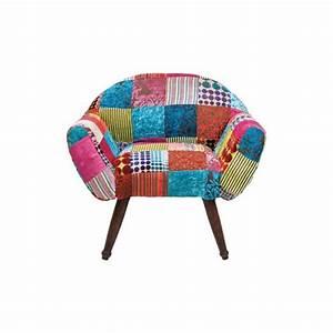 Fauteuil patchwork velvet colore kare design achat for Fauteuil coloré