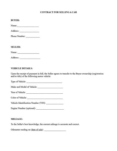 printable contract  selling   car shop fresh
