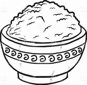 Bowl clipart chicken and rice - Pencil and in color bowl ...