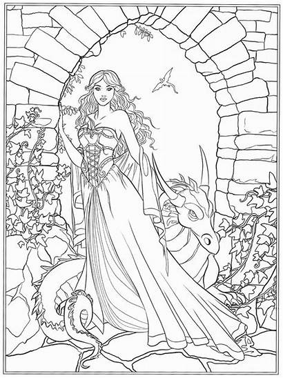 Coloring Fantasy Pages Adults Books Adult Dark