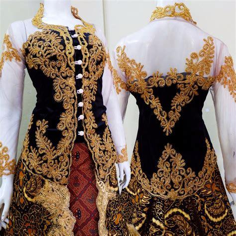 jual couple keren kebaya pengantin tile payet ekor batik