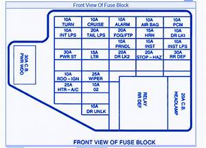 Pontiac Grand S E 1998 Front View Fuse Box  Block Circuit Breaker Diagram  U00bb Carfusebox