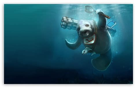Seal Underwater Painting 4k Hd Desktop Wallpaper For 4k
