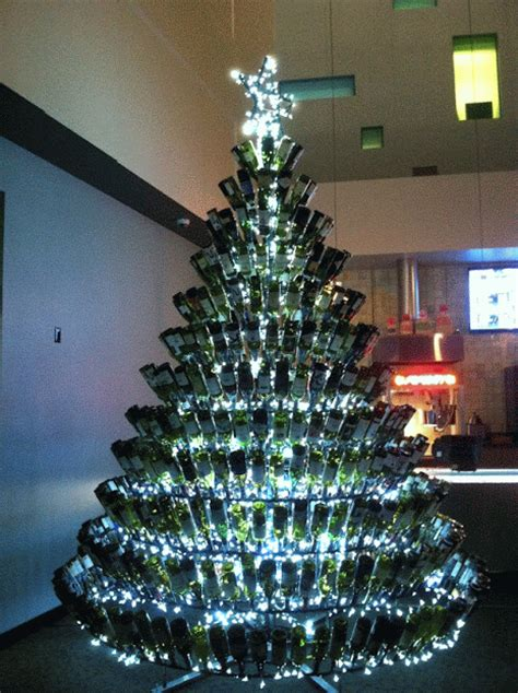 christmas trees made of bottles wine wankers wine bottle tree twinkle the wine wankers