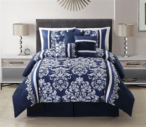 bedroom navy blue comforter  coral pattern
