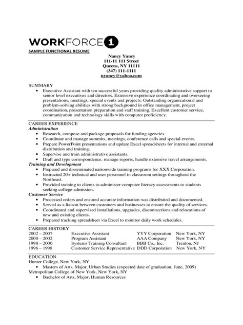 2018 Functional Resume Template  Fillable, Printable Pdf