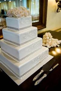 Square Wedding Cake   wedding ideas   Pinterest