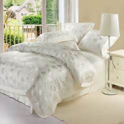 white silk jacquard satin bedclothes bedding sets king queen size 4pc luxury comforter duvet
